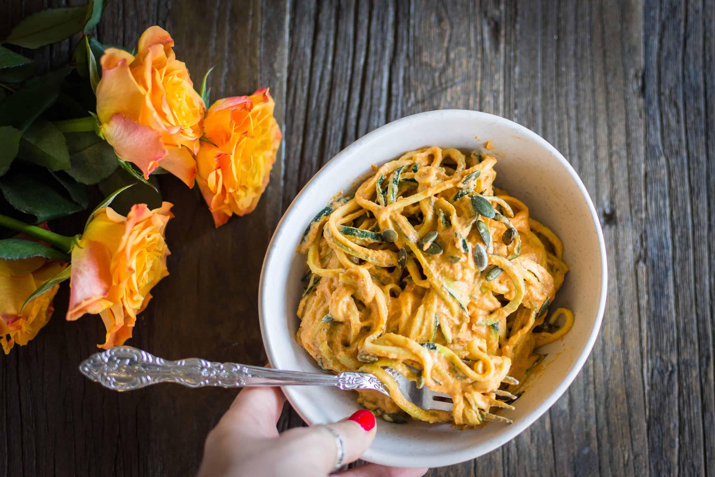 Zucchini pasta with creamy cashew bell pepper sauce