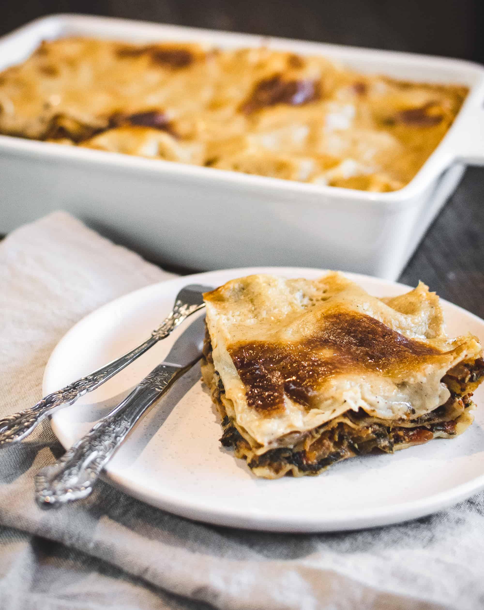 Vegan lentil spinach lasagna