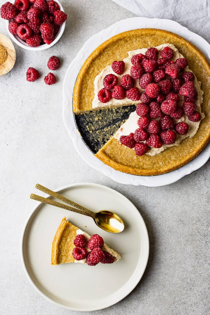 summer raspberry cake that is gluten-free and vegan