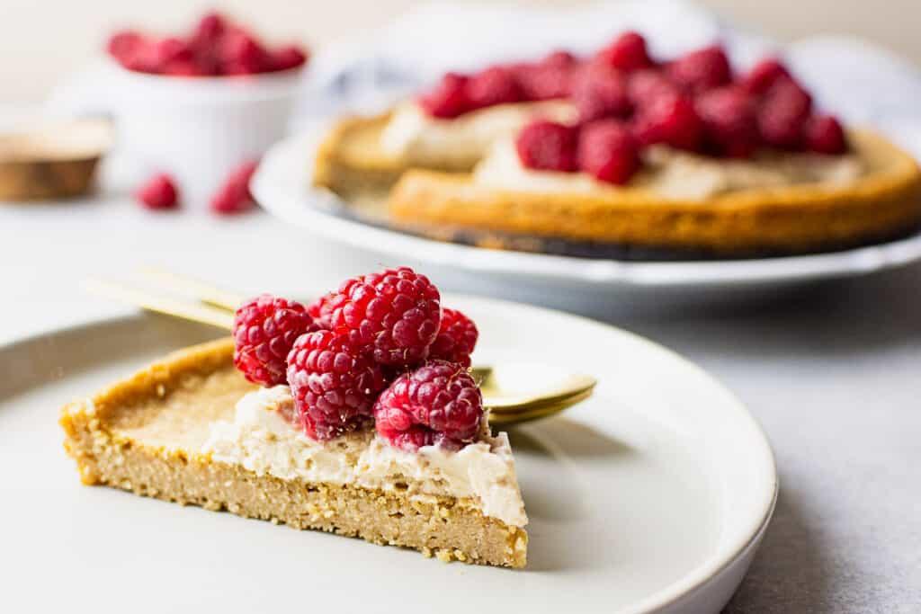 slice of summer raspberry cake